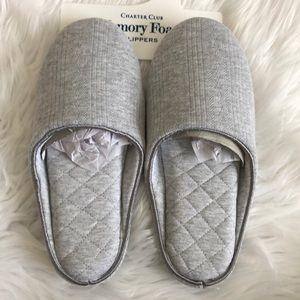 NWT Charter Club Gray Memory Foam Slippers